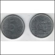1996 - 5 Centavos, mbc, aço.