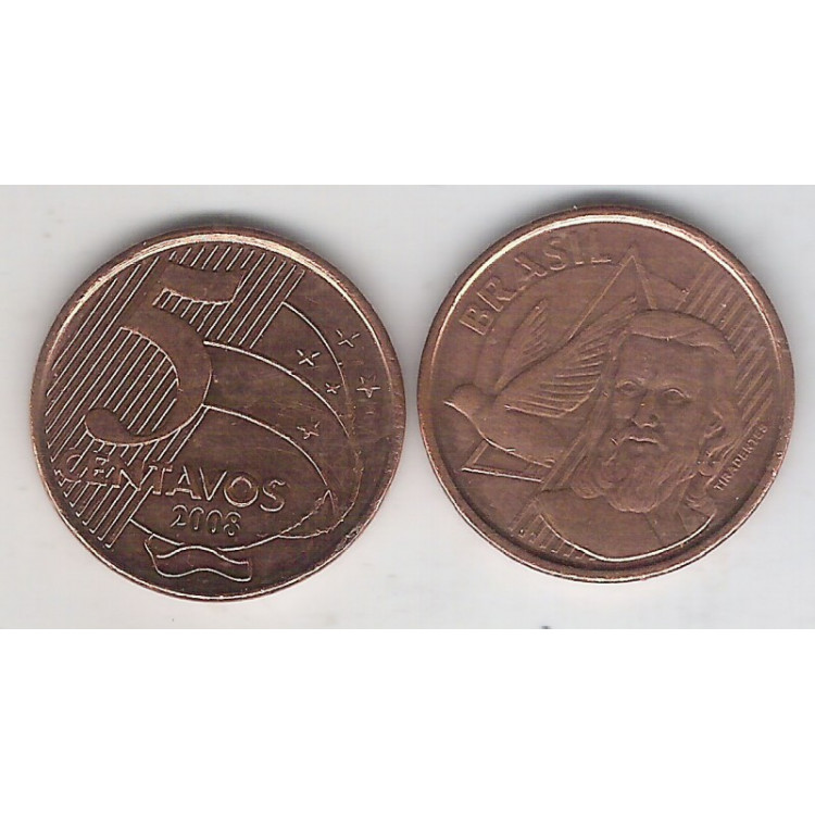 2008 - 5 Centavos, mbc, aço revestido de cobre.
