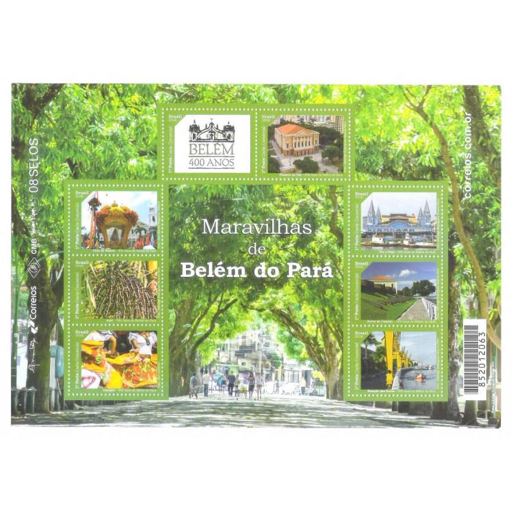 B-189 - 2016 - Maravilhas de Belém do Pará. Bloco comemorativo aos 400 anos de Belém.