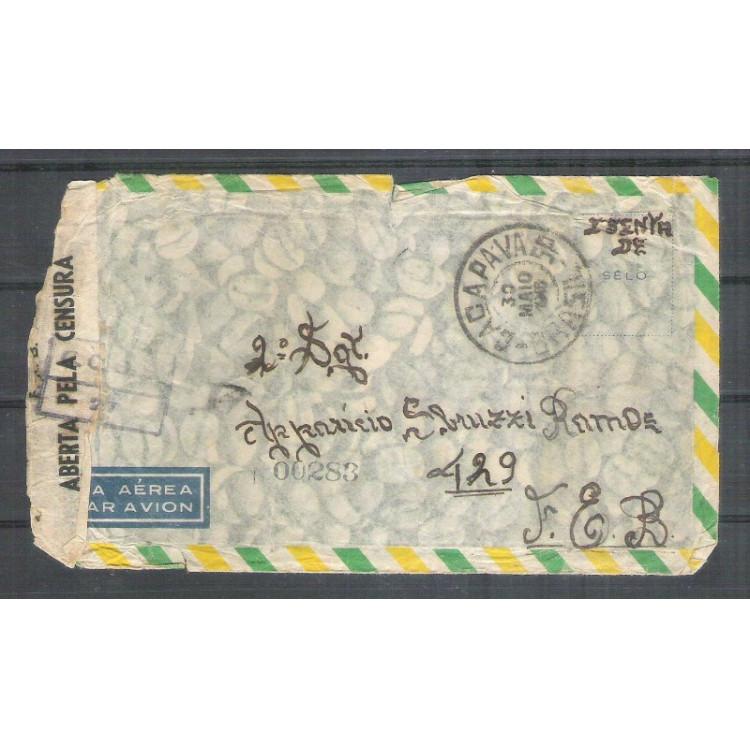 1945 - Envelope de Caçapava para Itália com carimbo de censura CCBS-27. Segunda Guerra.