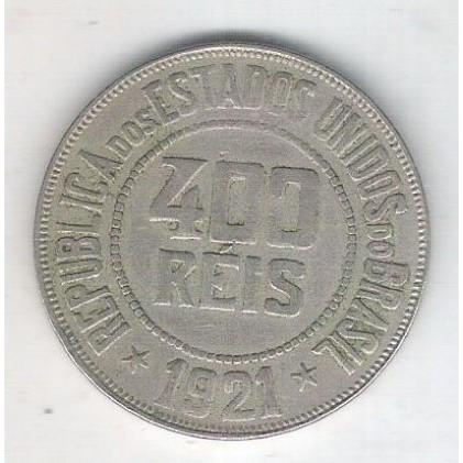 1921 - Brasil, 400 Réis, cuproníquel, mbc.