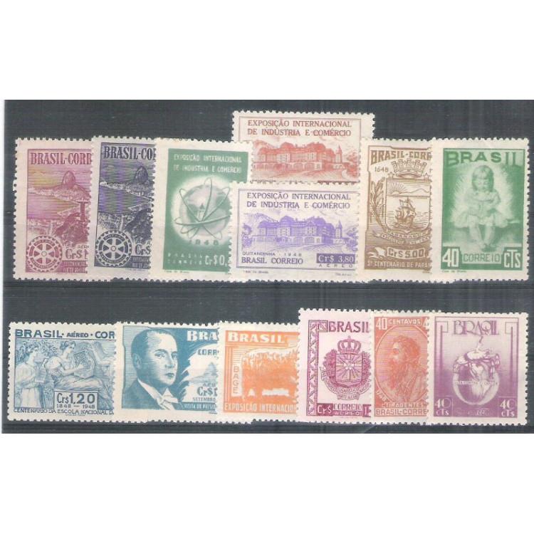 1948 - Coleção dos 13 selos comemorativos, novos. MINT