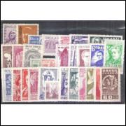 1954 - Coleção dos 29 selos comemorativos, novos.