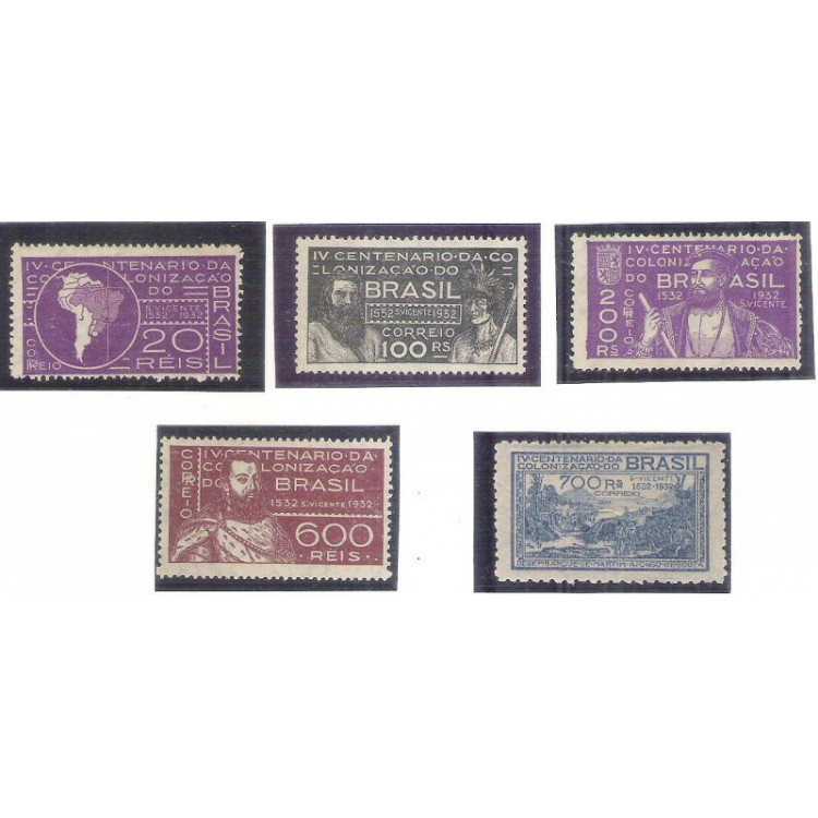 1932 - C-41/45 - 4o Centenário de São Vicente e da Colonização, novo, sem goma. *