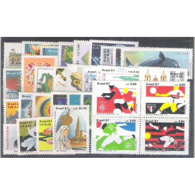 1987 - Coleção dos 32 selos comemorativos, novos.