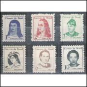 1967/1969 - 526/531 - Mulheres Famosas do Brasil. Série nova, MINT.