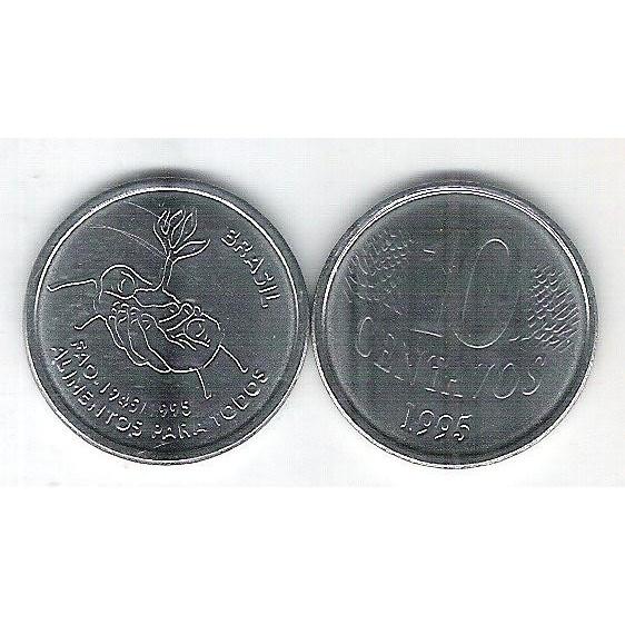 1995 - 10 Centavos, FAO, flor de cunho (FC), aço. Comemorativa.