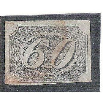 I-06 Brasil Império, 1844, 60 Réis, Inclinado,carimbado.