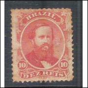 I-23 Brasil Império, 1866, 10 Réis, Dom Pedro II, picotado, novo.