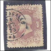 I-24 Brasil Império, 1866, 20 Réis, Dom Pedro II, picotado, BELO CARIMBO: Cantagalo 1873