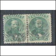 I-27 Brasil Império, 1866, 100 Réis, PAR, Dom Pedro II, picotado, tipo 1 carimbado.