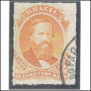 I-36 Brasil Império, 1876, 500 Réis, Dom Pedro II, percê, carimbado. BELÍSSIMA COR.