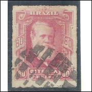 I-40 Brasil Império, 1878, 80 Réis, Dom Pedro II, Barba Branca, percê, carimbado.