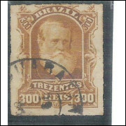 I-44 Brasil Império, 1878, 300 Réis, Dom Pedro II, Barba Branca, carimbado.