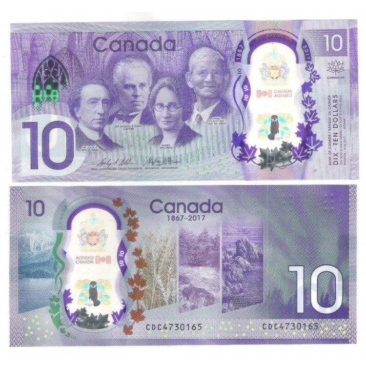 Canada - (nova) 10 Dollars, 2017, fe. Polímero. Comemorativa 150 Anos. Personalidades