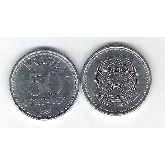 1986 - 50 Centavos, aço, fc.