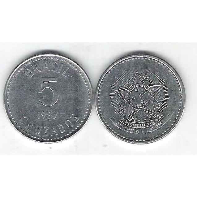 1987 - 5 Cruzados, aço, fc.