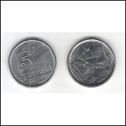 1989 -  5 Centavos, aço, fc. Pescador.