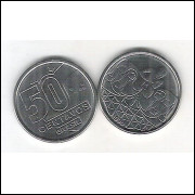 1990 - 50 Centavos, aço, fc. Rendeira.