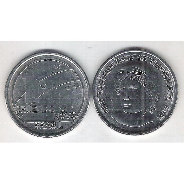 1989 - 1 Cruzado Novo, aço, fc. Comemorativa: Centenário da República.