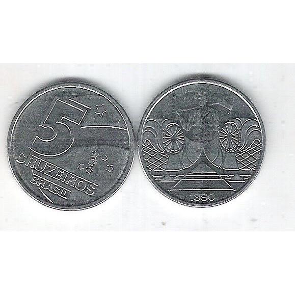 1990 -  5 Cruzeiros, aço, fc. Salineiro.