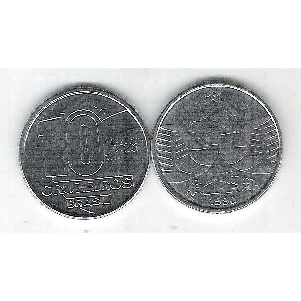 1990 - 10 Cruzeiros, aço, fc. Seringueiro.