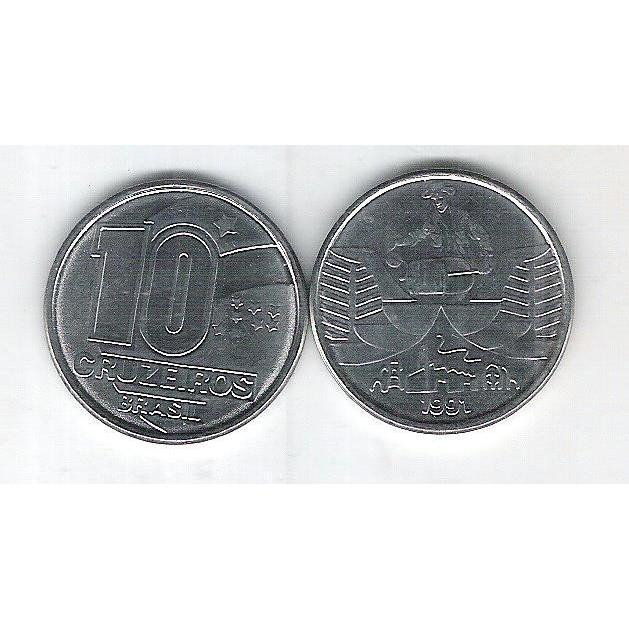 1991 - 10 Cruzeiros, aço, fc. Seringueiro.
