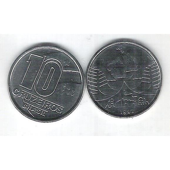 1992 - 10 Cruzeiros, aço, fc. Seringueiro.