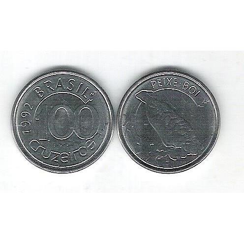 1992 - 100 Cruzeiros, aço, fc. Fauna, peixe boi.