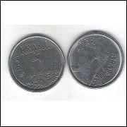 1993 -  5 Cruzeiros Reais, aço, fc. Fauna, arara.