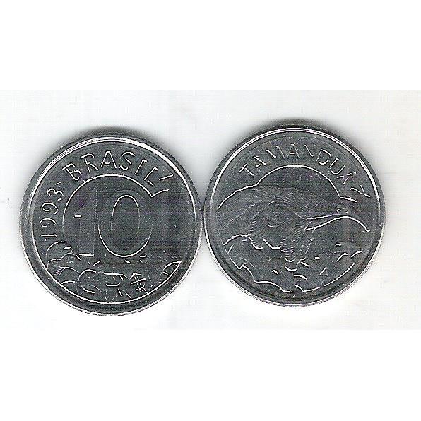 1993 - 10 Cruzeiros Reais, aço, fc. Fauna, tamanduá.