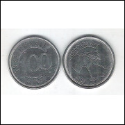 1993 - 100 Cruzeiros Reais, aço, s/fc. Fauna, lobo guará.