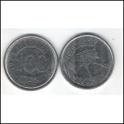 1994 - 100 Cruzeiros Reais, aço, s/fc. Fauna, lobo guará.
