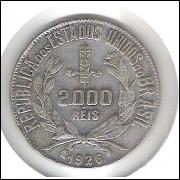 1926 - 2000 Réis, prata, mbc.