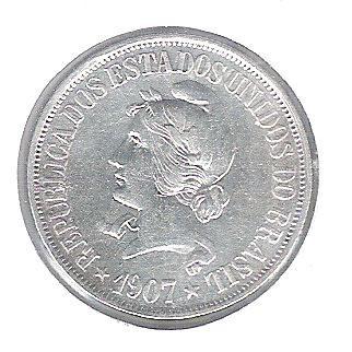 1907 - 500 Réis, prata, soberba, Brasil-República.