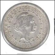 1913 - 1000 Réis, estrelas ligadas, prata, soberba, Brasil-República.
