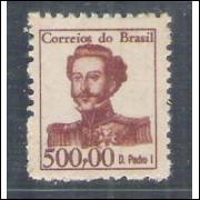 1965 - 524 -  500 Cruzeiros, D. Pedro I, Novo com goma, MINT.