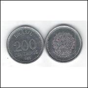 1985 - 200 Cruzeiro, fc. Aço. Brasão.