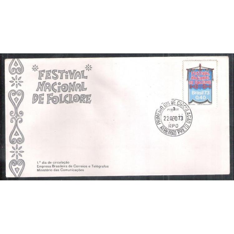 FDC-029 - 1973 - Festival Nacional do Folclore. Carimbo 1o Dia - Ribeirão Preto.