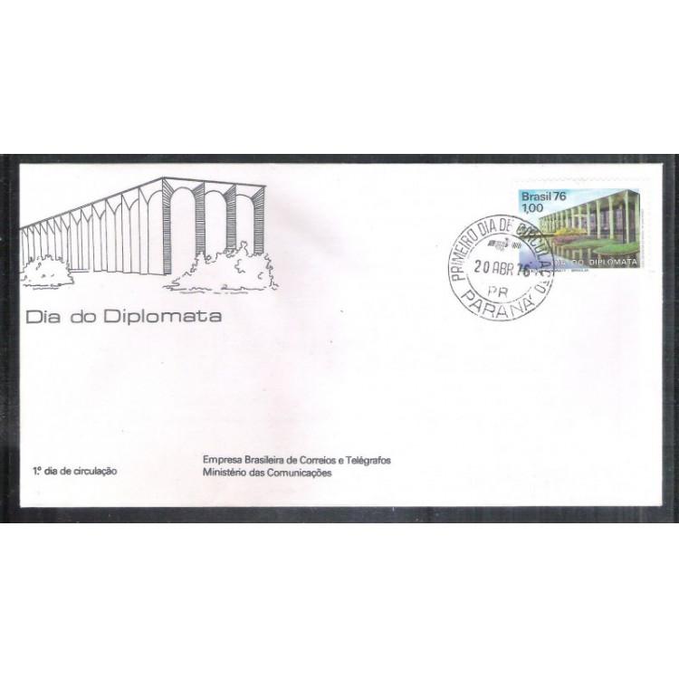 FDC-091 - 1976 - Dia do Diplomata. Palácio do Itamaraty. Carimbo 1o dia.