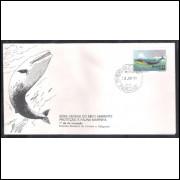 FDC-121 - 1977 - Defesa do Meio Ambiente Fauna Marinha, Baleia azul. Carimbo 1o DIA.