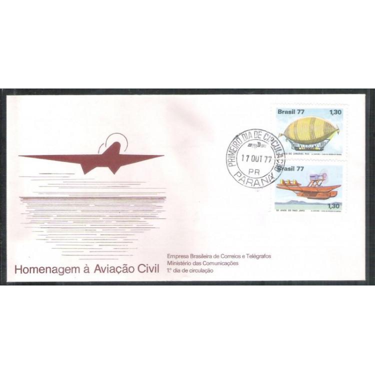 FDC-135 - 1977 - Aviação Civil. Dirigível Pax e Raid Jahu. Carimbo 1o dia.