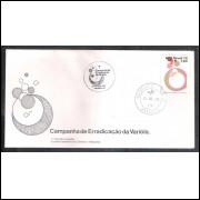 FDC-155- 1978 - Campanha da Erradicação da Varíola. Medicina. Carimbo 1o dia + Comemorativo-Brasilia