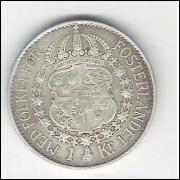 Suécia, 1 Krona, 1937, Gustaf V, prata .800, mbc.
