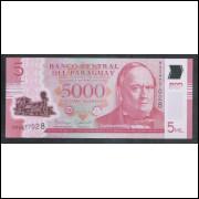 Paraguai (nova) - 5000 Guaranies, 2016, polímero, FE. Trem, locomotiva.