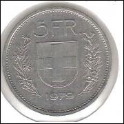 Suíça, 5 Francs, 1979, soberba.