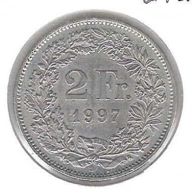 Suíça, 2 Francs, 1997, cuproníquel, soberba.