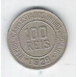 1929 - Brasil, 100 Réis, cuproníquel, mbc.