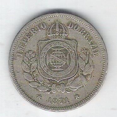 1871 - Brasil-Império, Dom Pedro II, 100 Réis, cuproníquel, mbc.