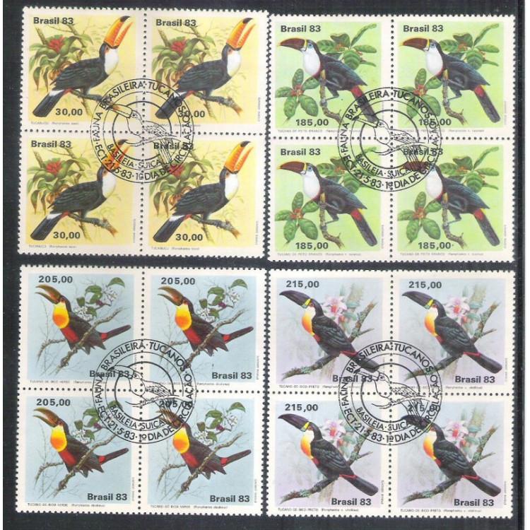 1983 - C-1321-4CCO - Fauna Brasileira - Tucanos - Pássaros. QUADRAS COM CARIMBO COMEMORATIVO.